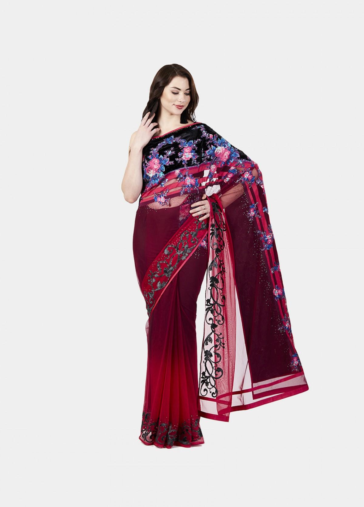 The Net Wine Embroidered Sari