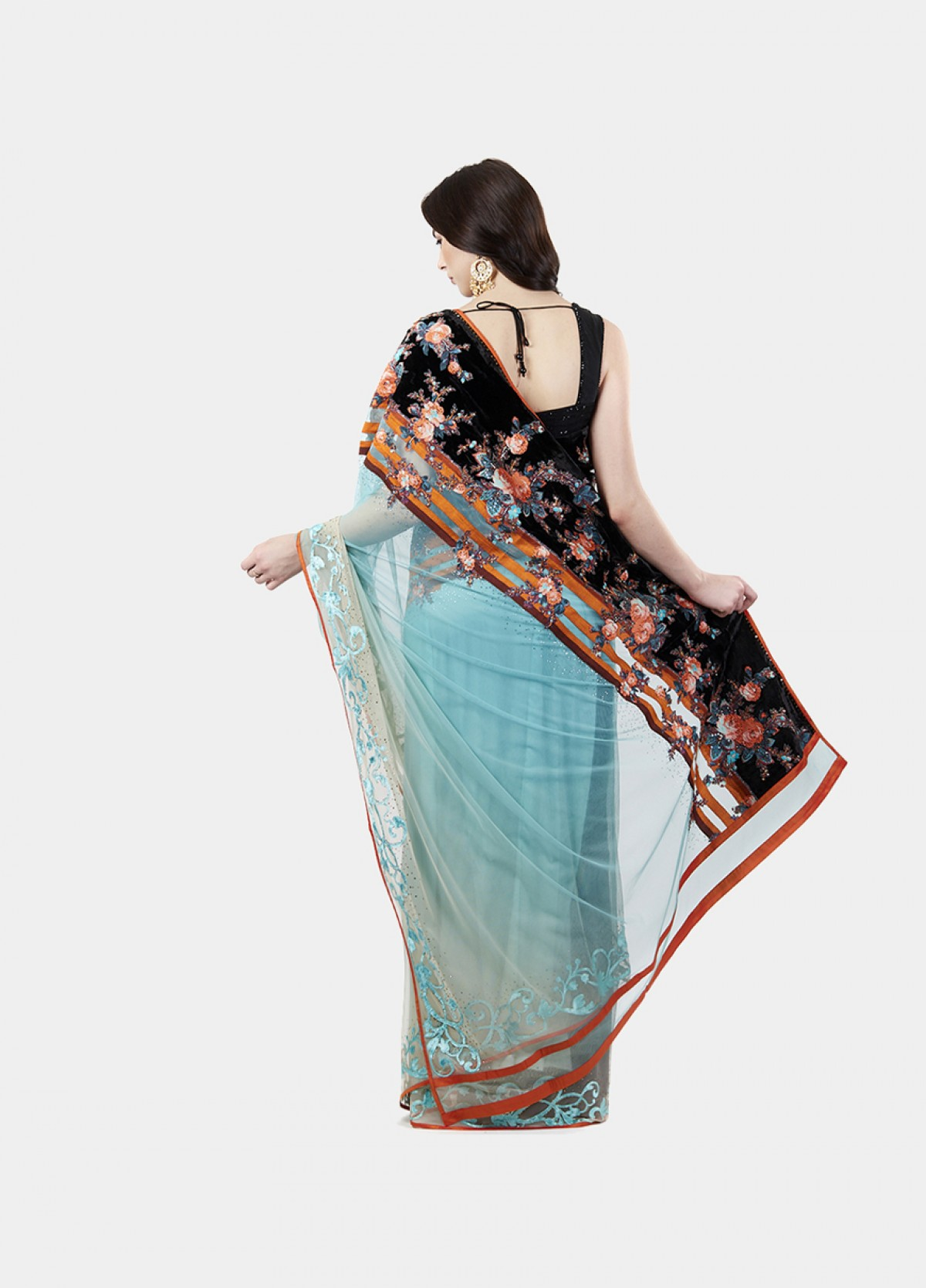 The Net Green Embroidered Sari