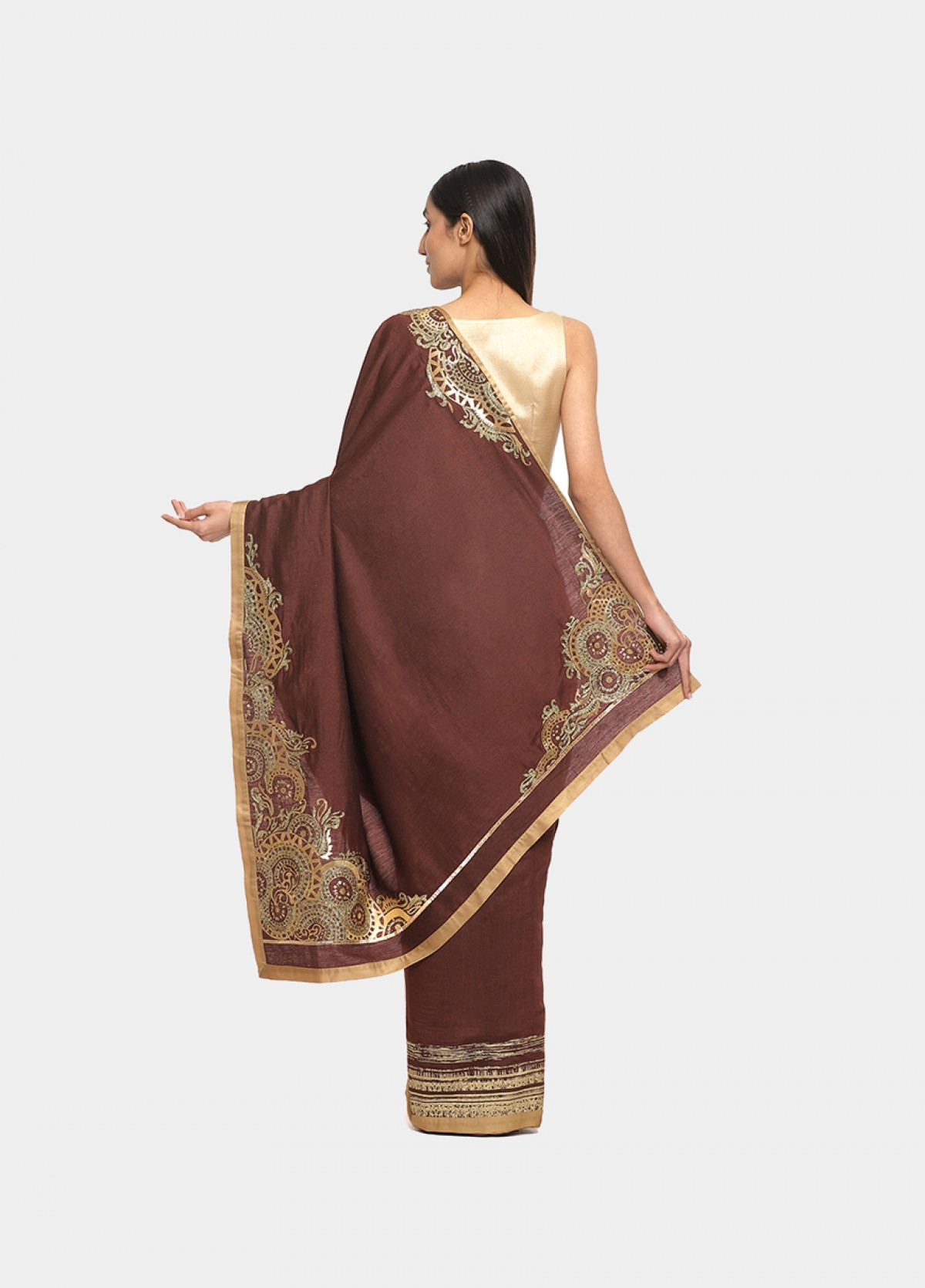 The Silk Brown Embroidered Sari