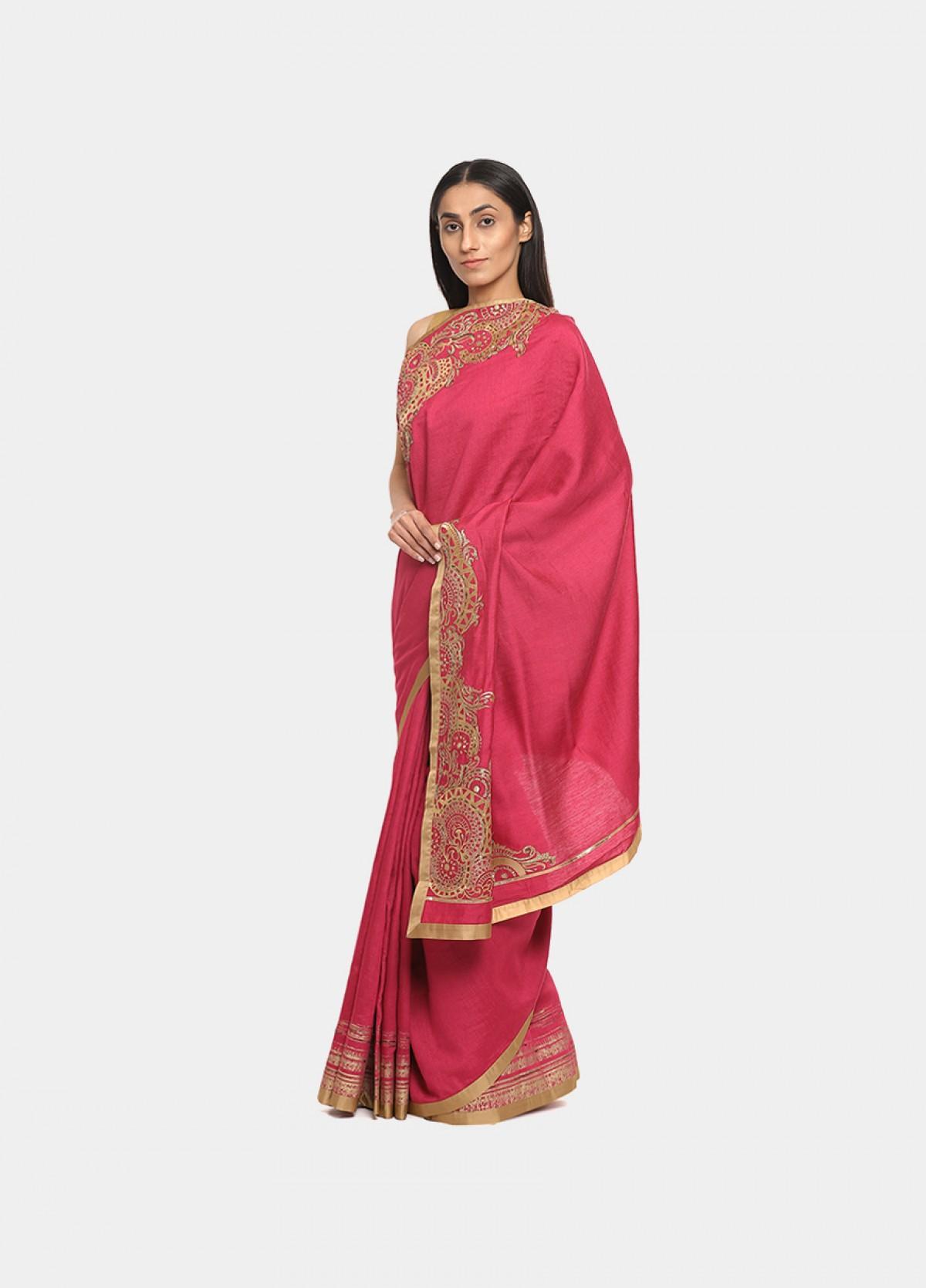 The Silk Pink Embroidered Sari