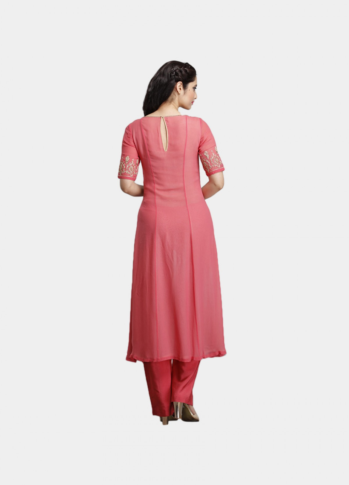 The Double Layered Embroidered Suit Kurta Bottom Dupatta Set
