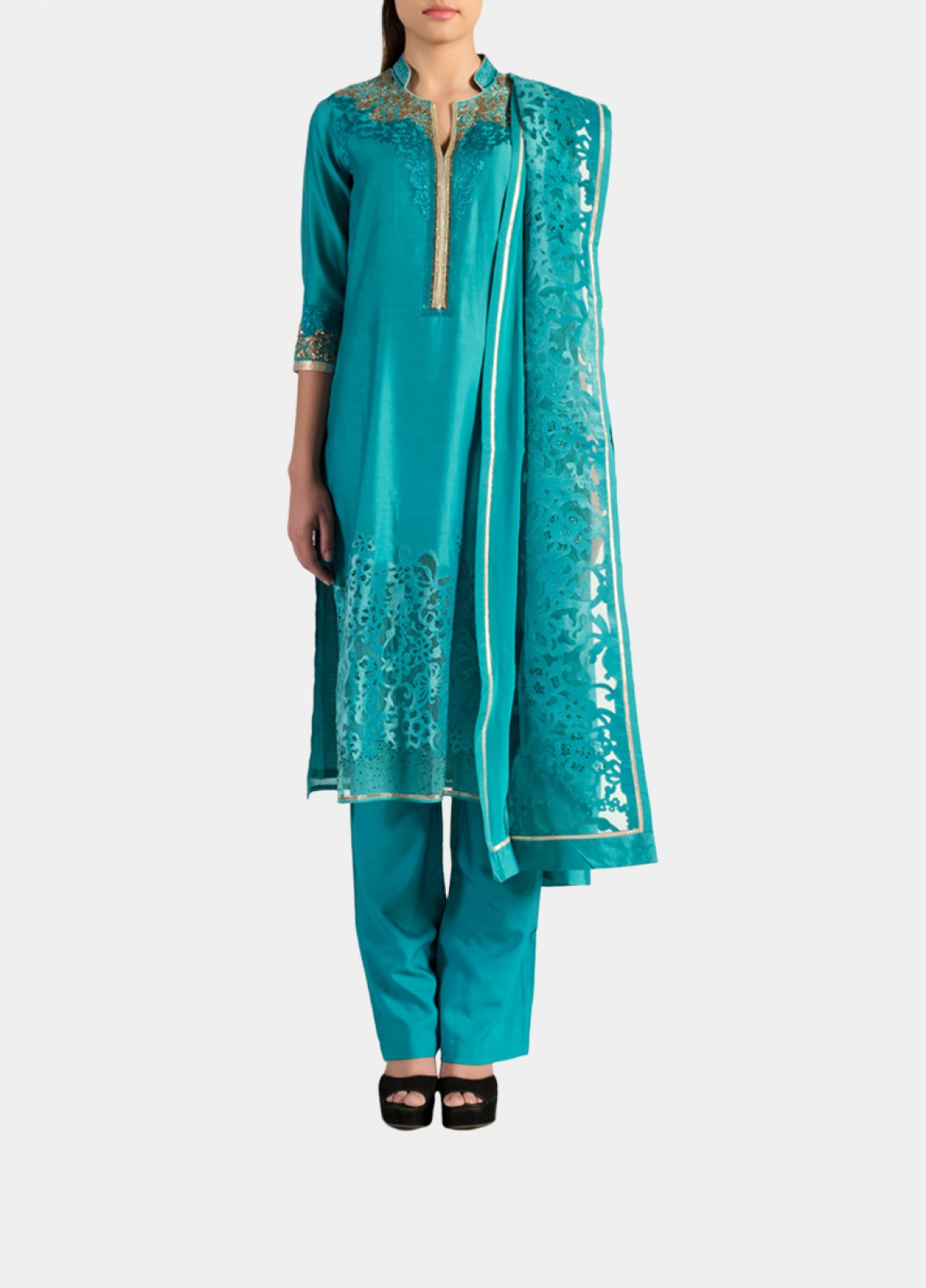 The Straight Cut Embroidered Suit Kurta Bottom Dupatta Set