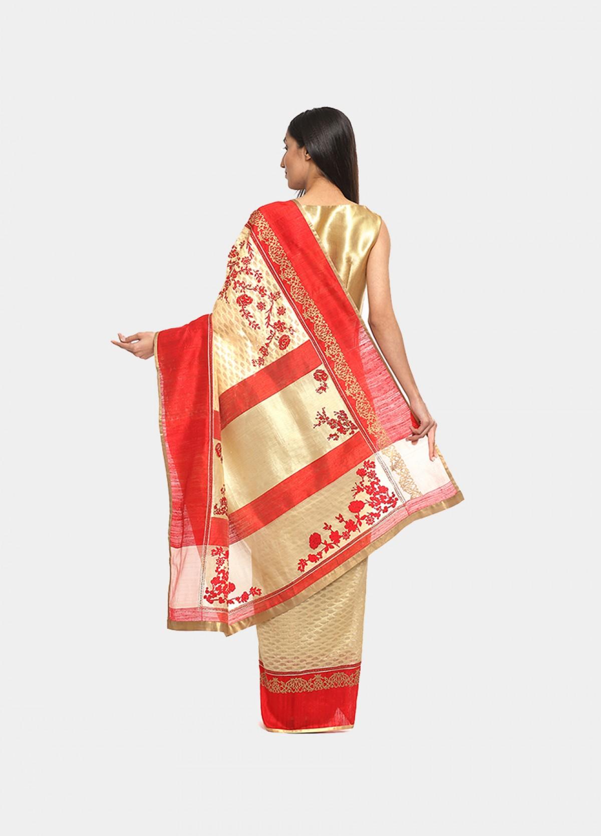 The Silk Cream Embroidered Sari