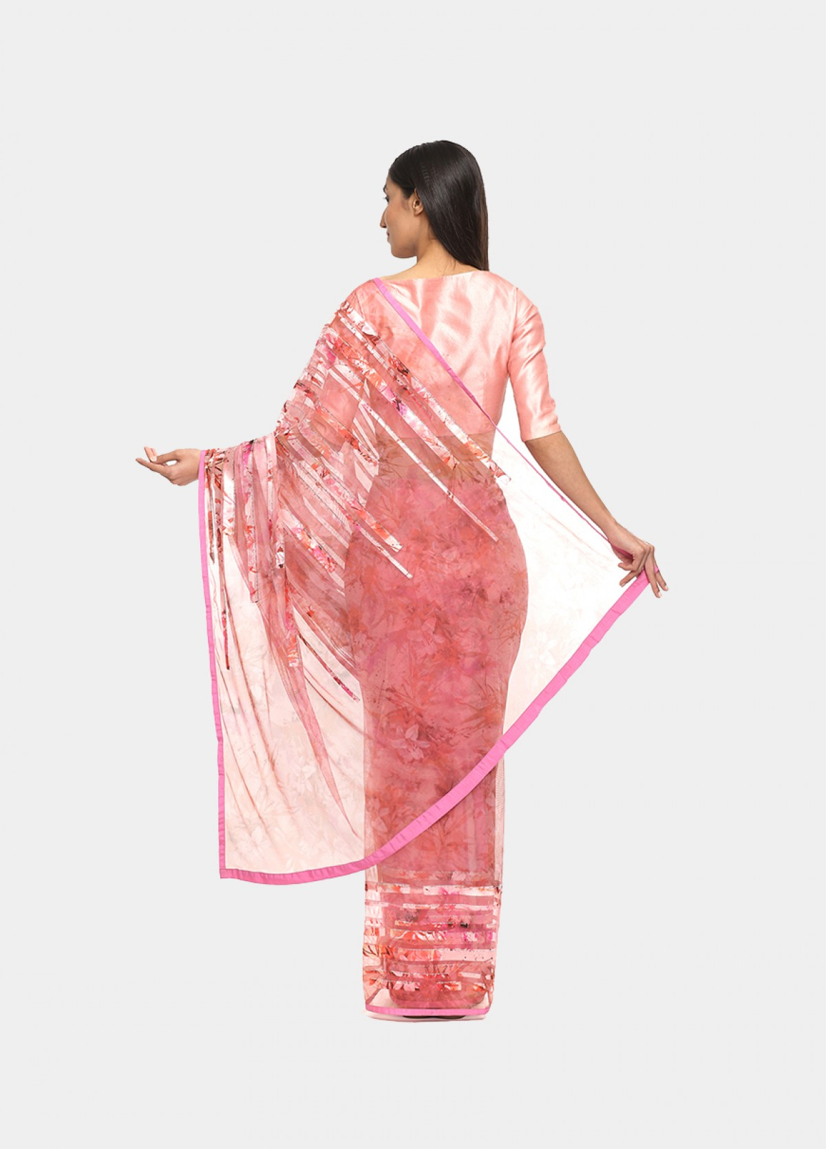 The Net Pink Blush Embroidered Sari