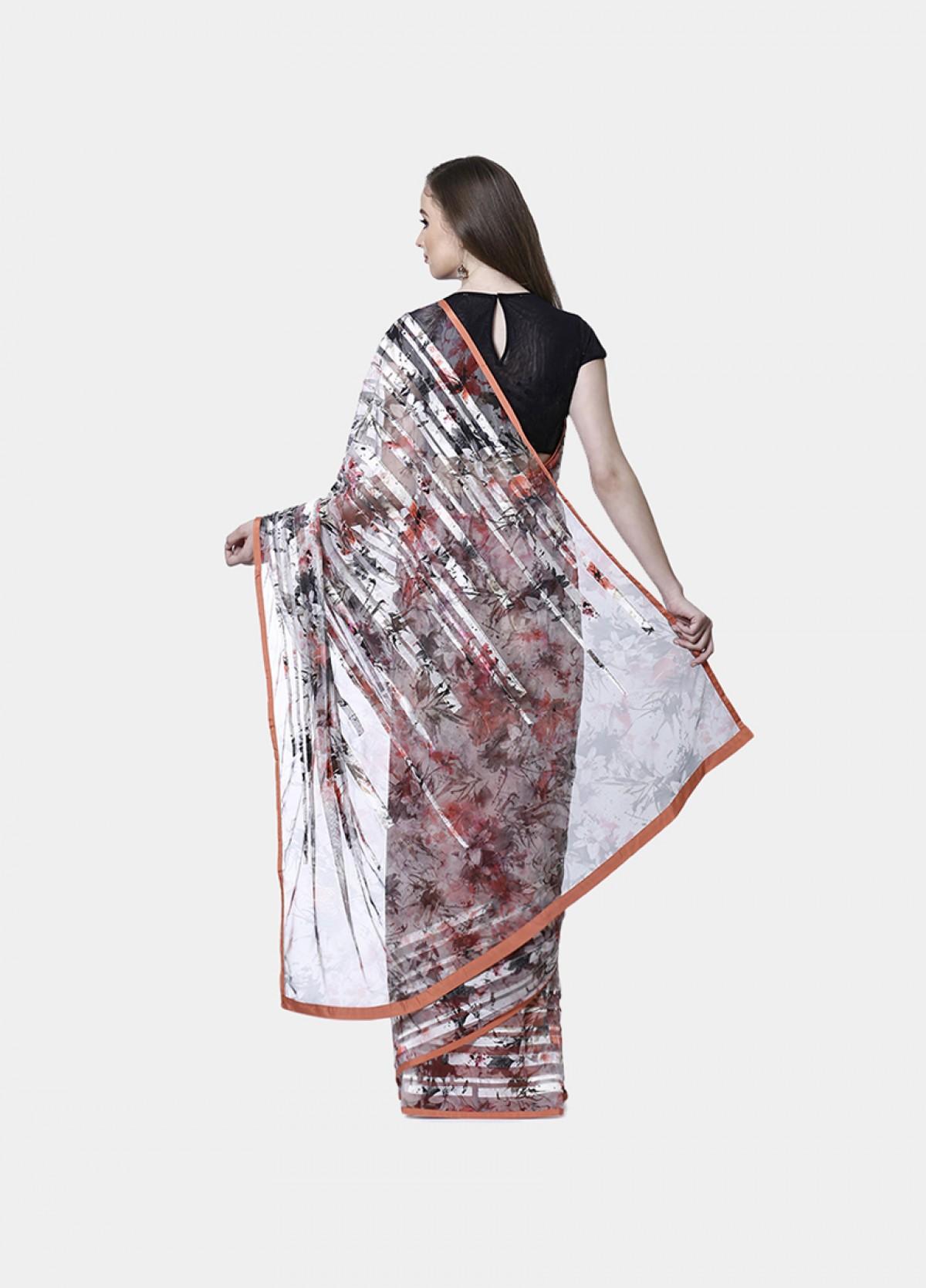 The Embroidered Satin Printed Sari