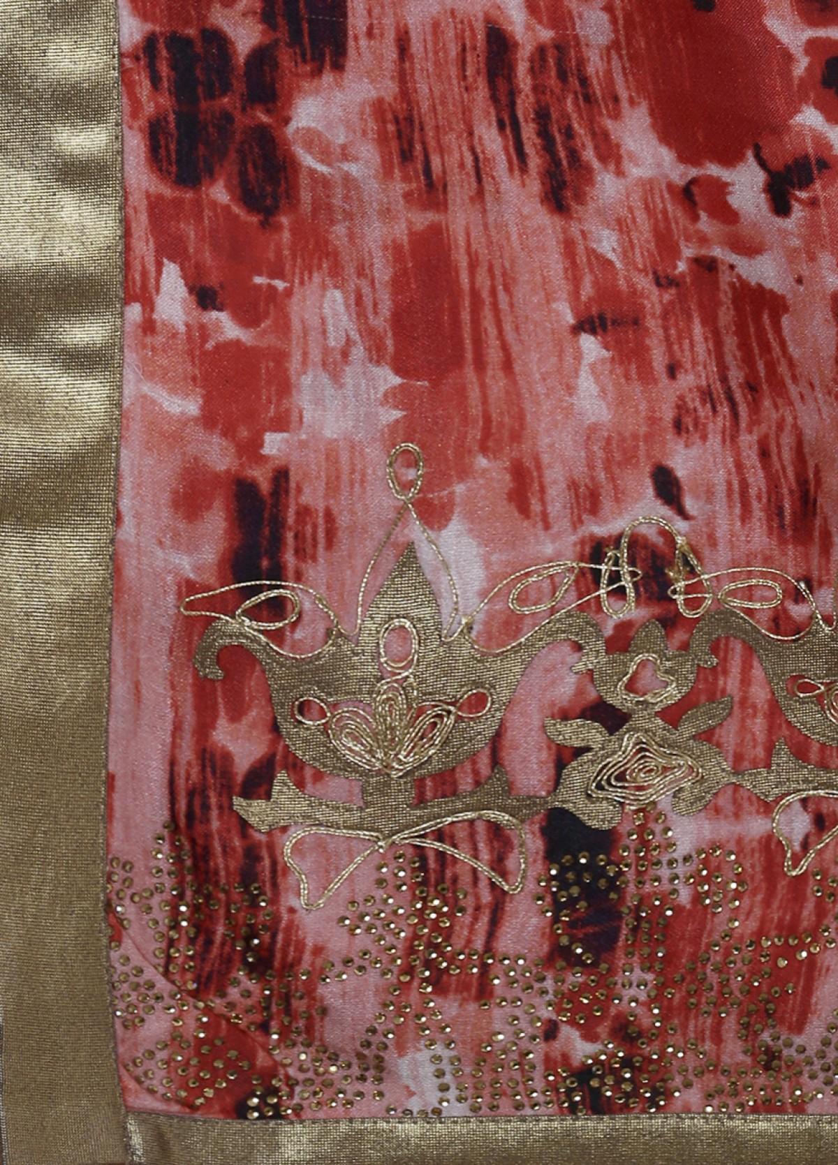 The Grace Embroidered Printed Silk  Sari