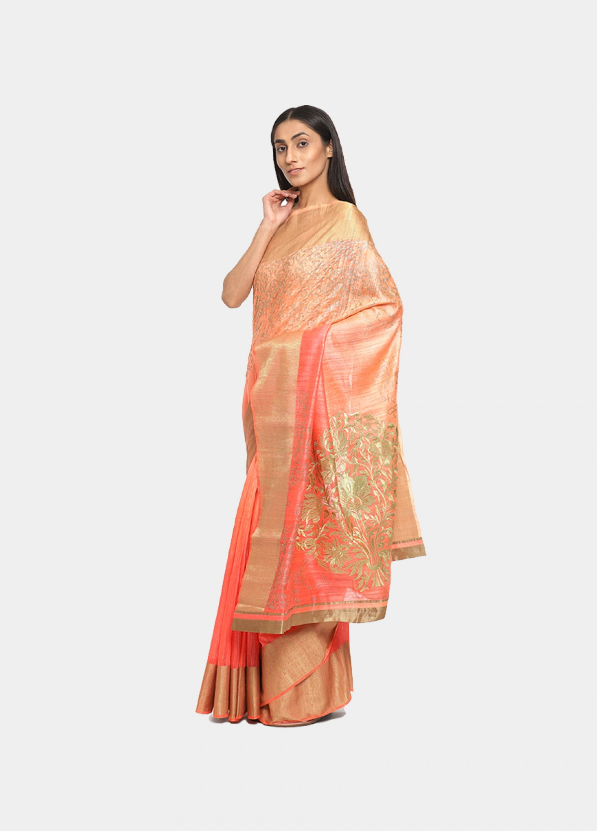 The Silk Pink Woven Embroidered Sari