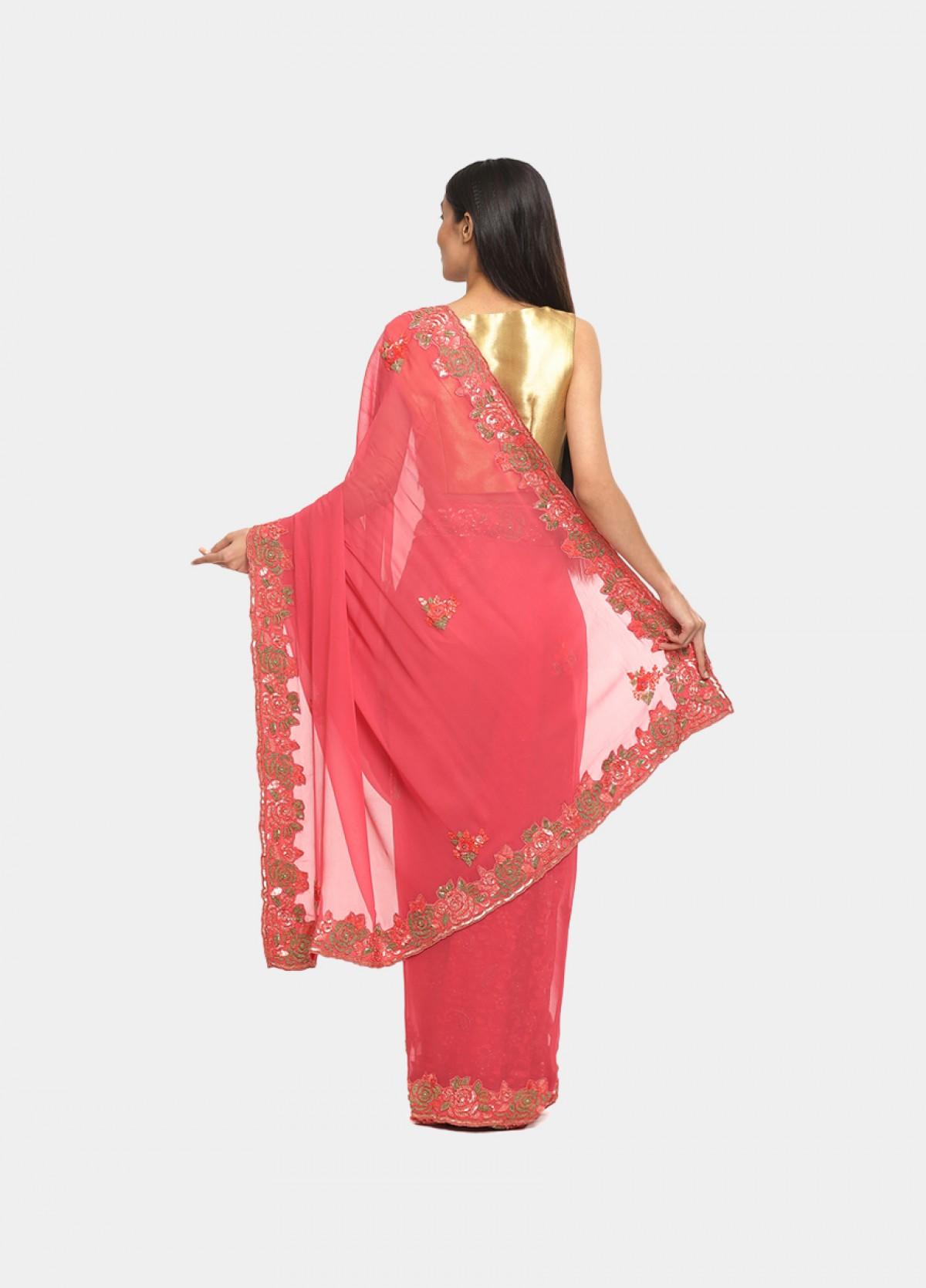 The Orange Georgette Embroidered Sari