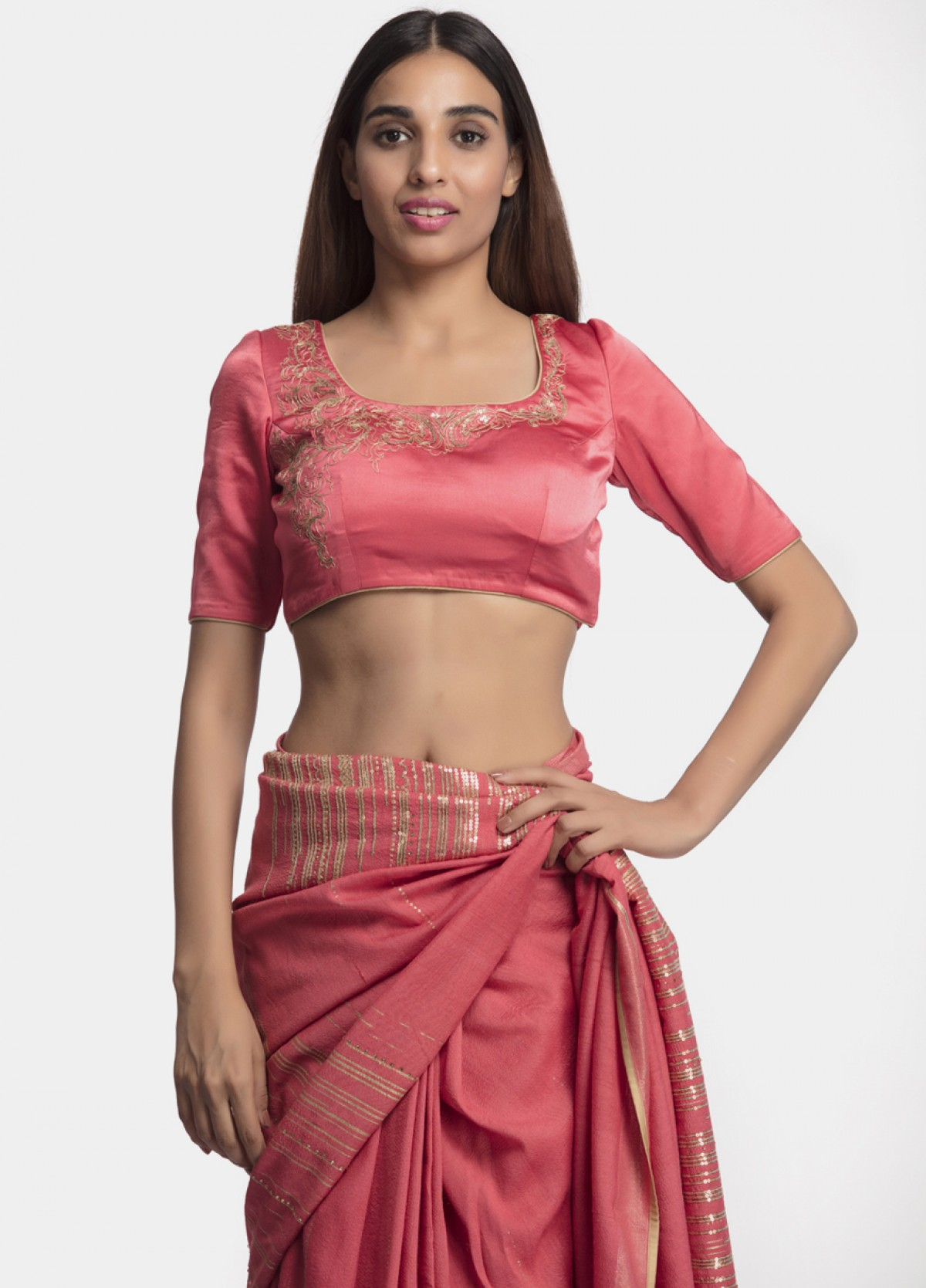 The Pink Tussar Zari Sari