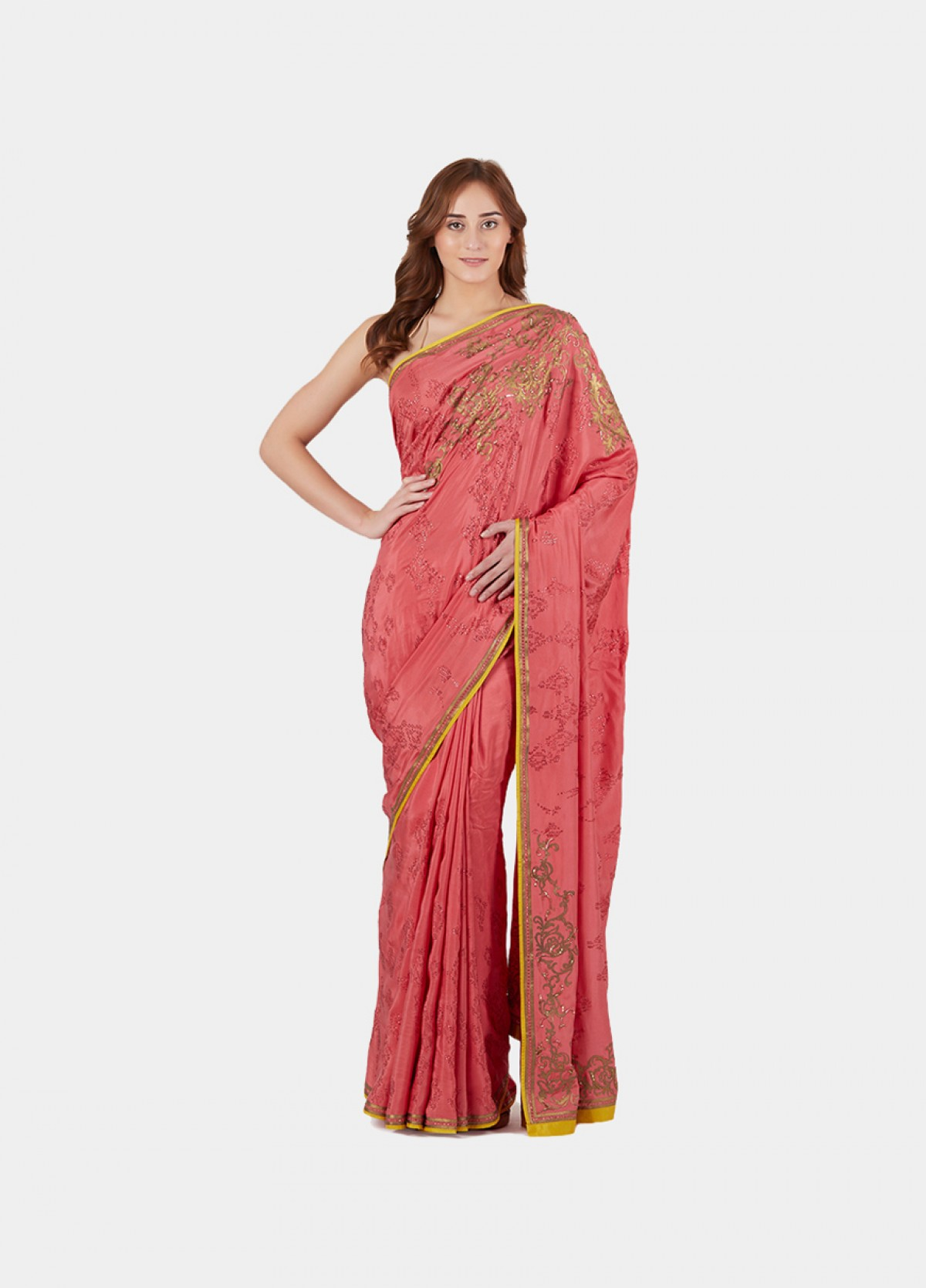 The Coral Embroidered Sari