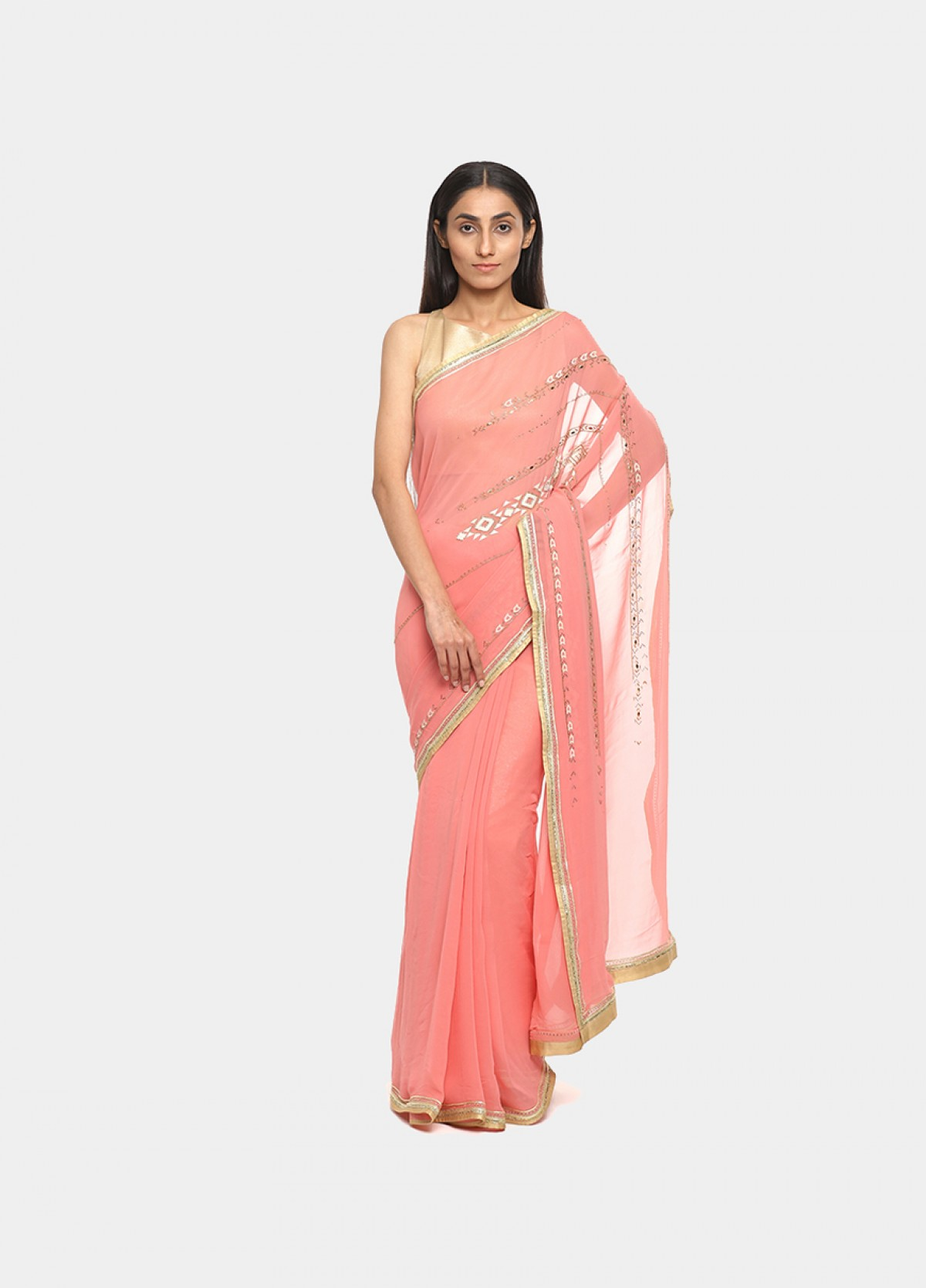 The Silk Georgette Pink Embroidered Sari