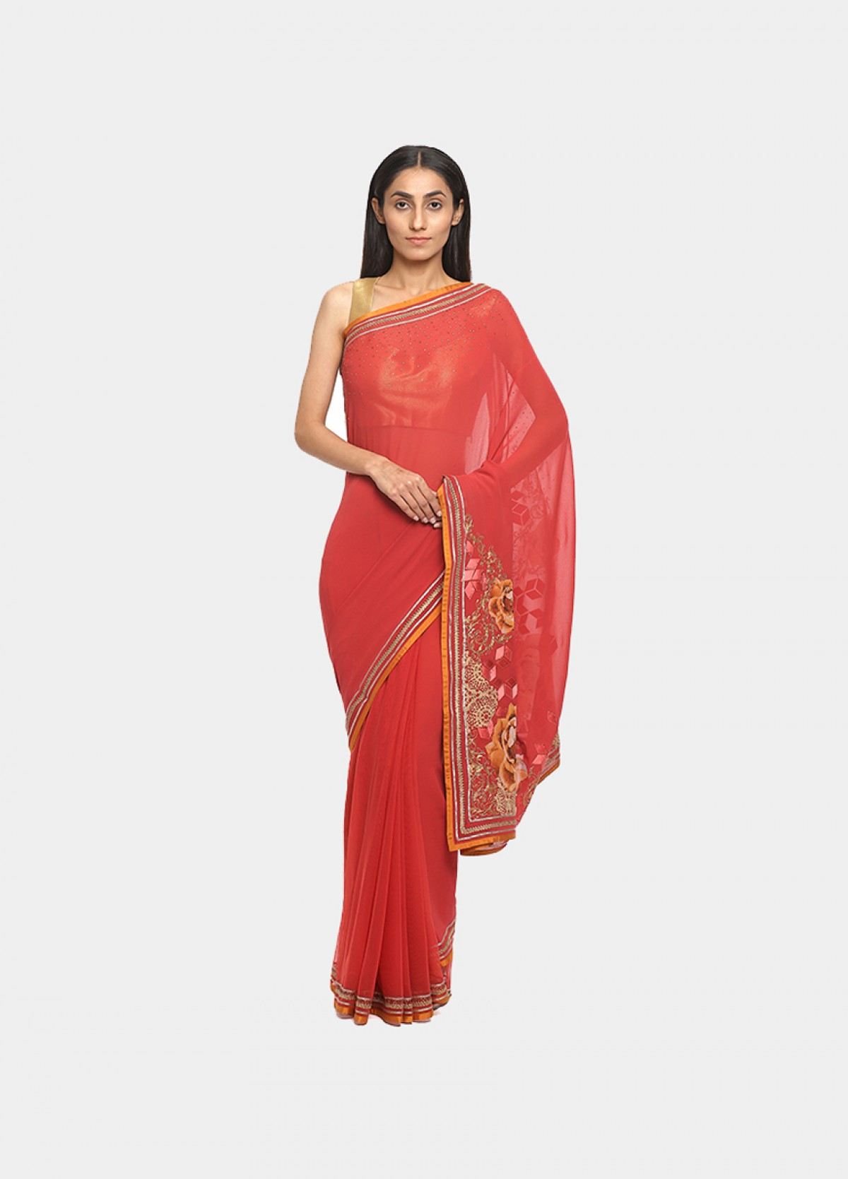 The Coral Net Embroidered Sari