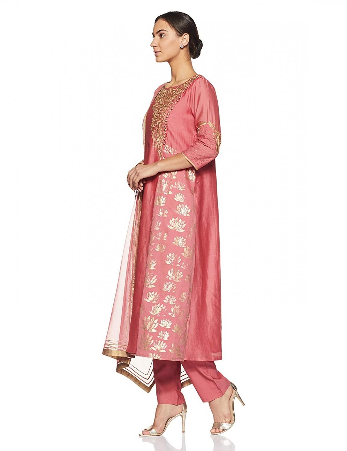 The Pink Blush Chanderi Kurta Bottom Dupatta Set