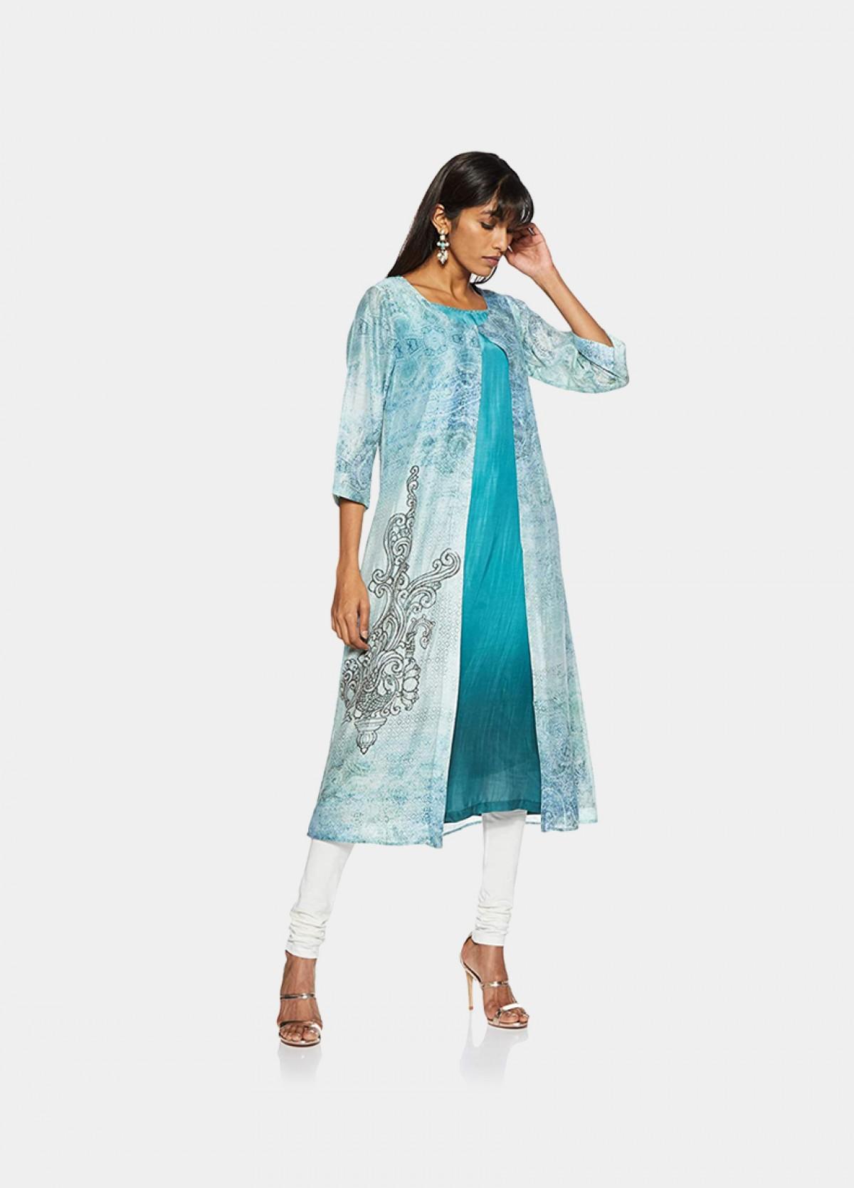 The Women'S Blue Chanderi Shrug