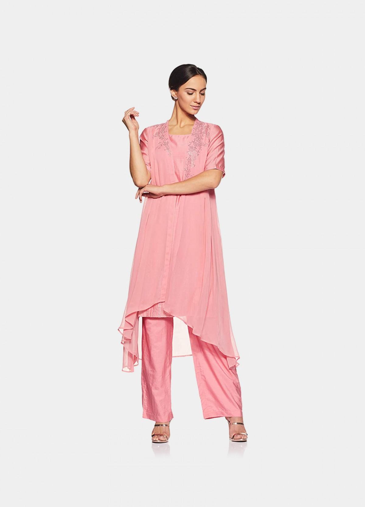 The Pink Soft Chanderi Kurta Bottom Set