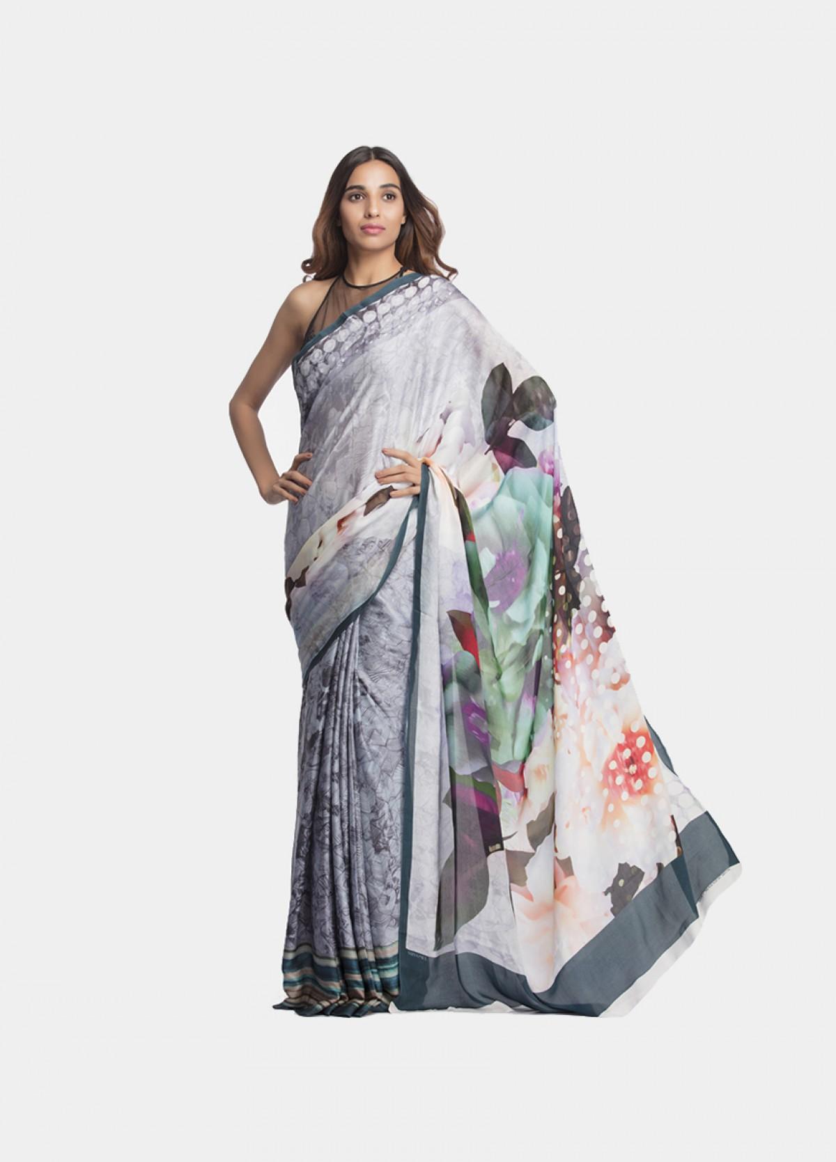 The Print Embellished Medium Grey Sari