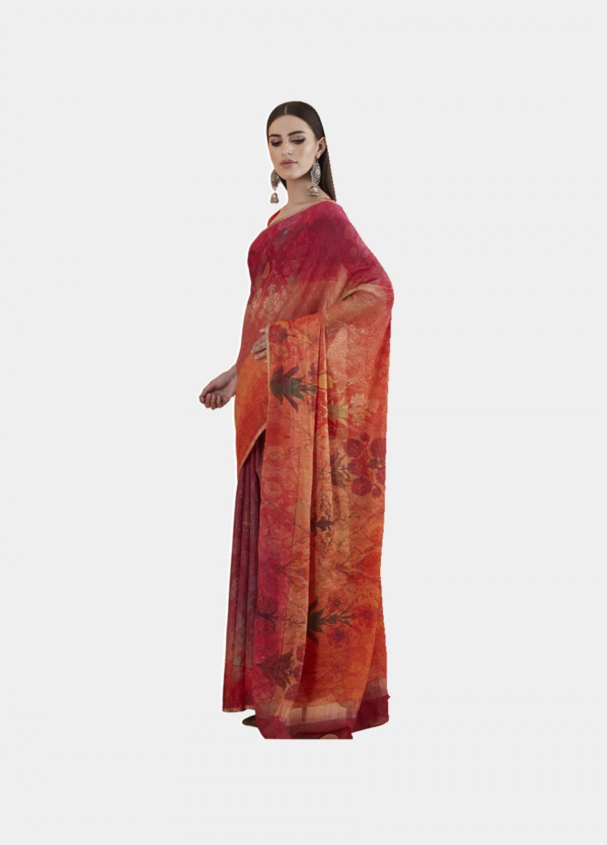 The Silk Satin Pink Printed Sari
