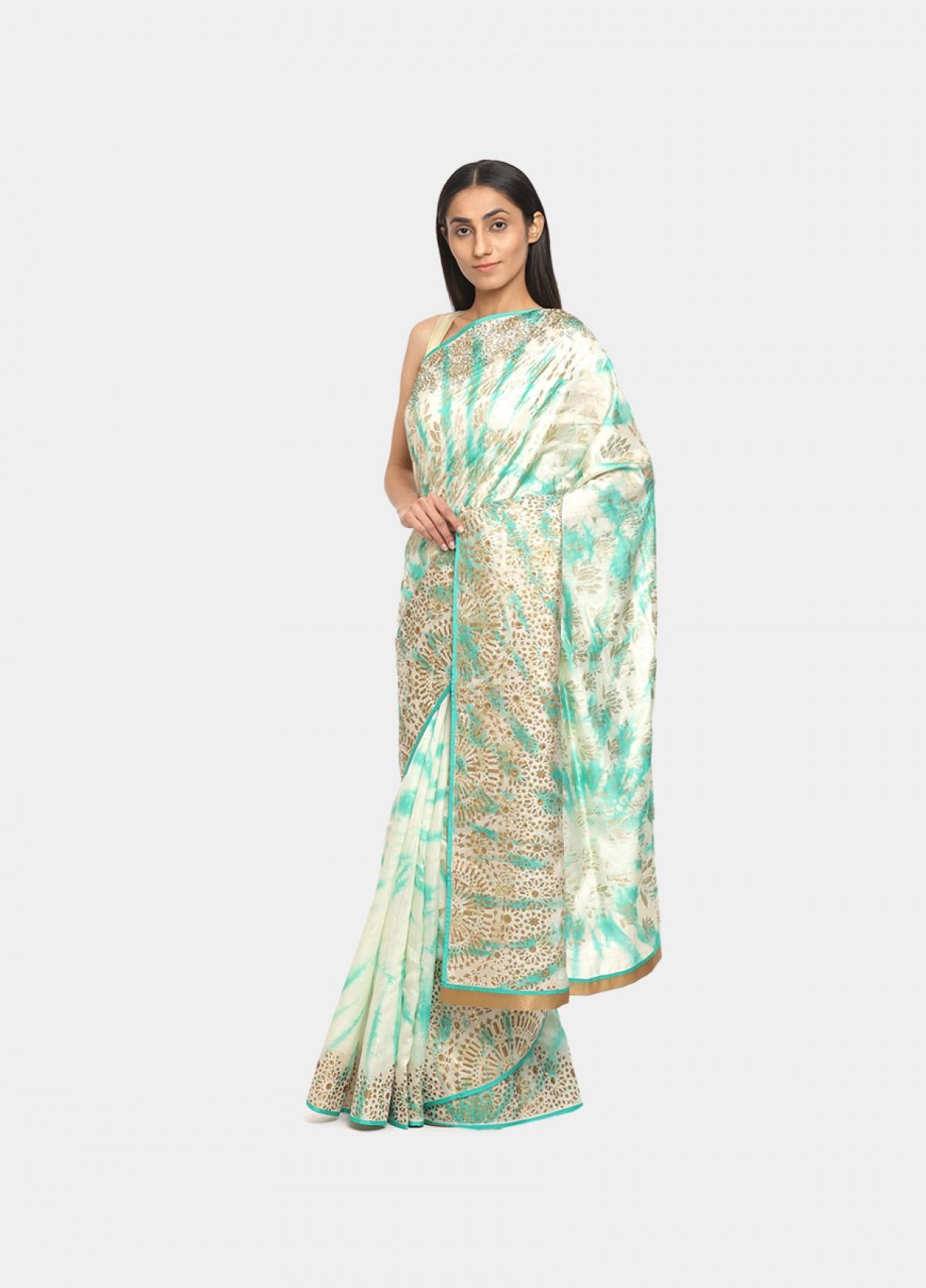 The White Banarasi Silk Embroidered Sari