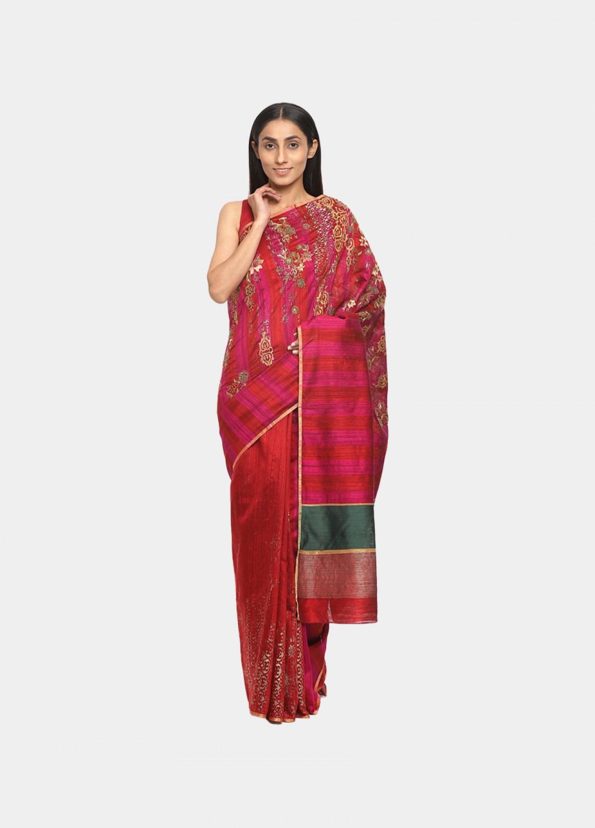 The Orange Banarasi Silk Embroidered Sari