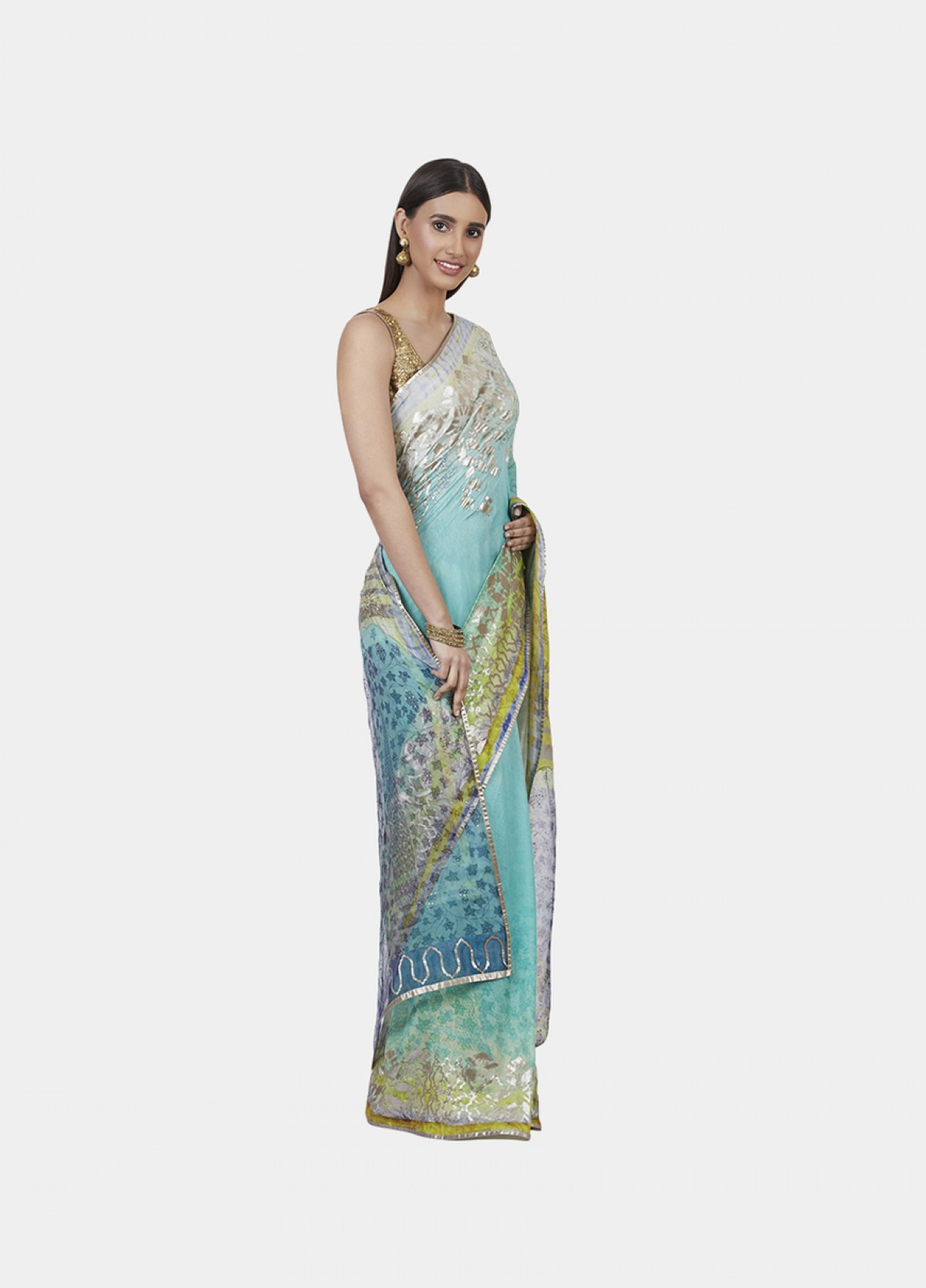 The Psychedelic Blooms Sari