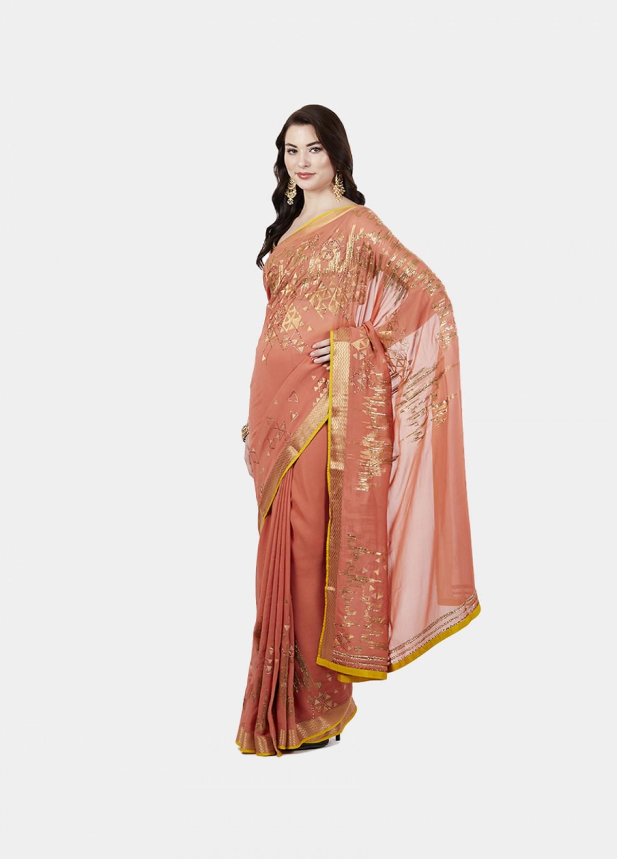 The Floral Diva Sari-Light Orange-Embellished-Georgette