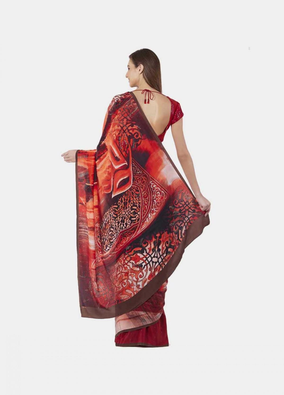 The New York  -Red-Print Embellished-Crepe Sari