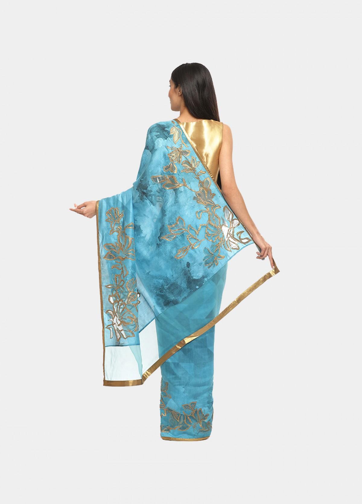 The Silk Blue Embroidered Sari