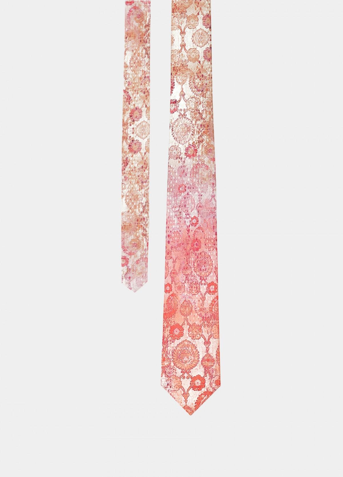 The Peach Printed Silk Tie