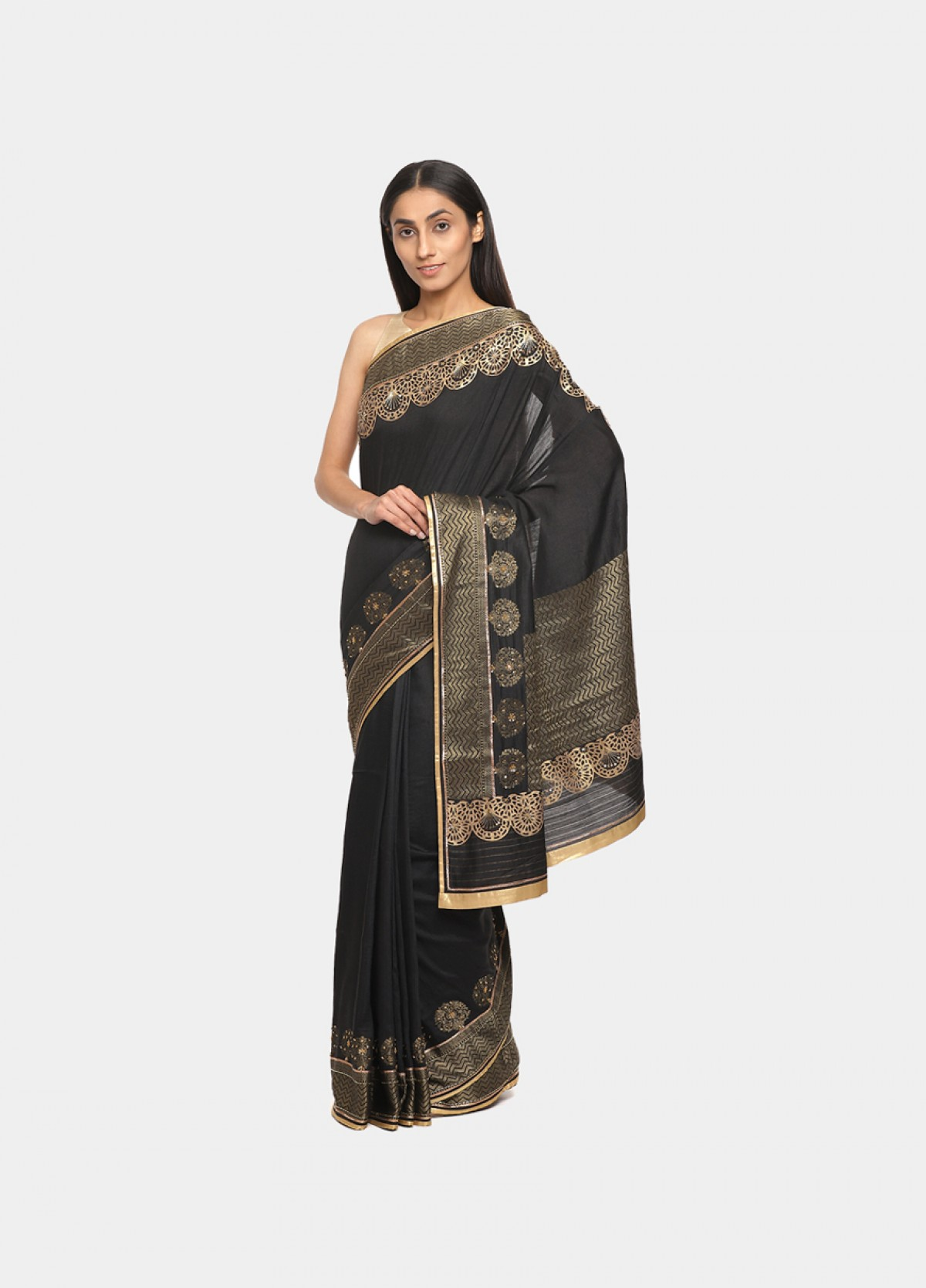 The Silk Black Embroidered Sari