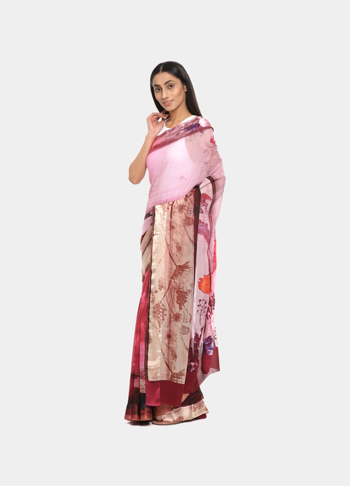 The Silk Georgette Pink Printed Sari