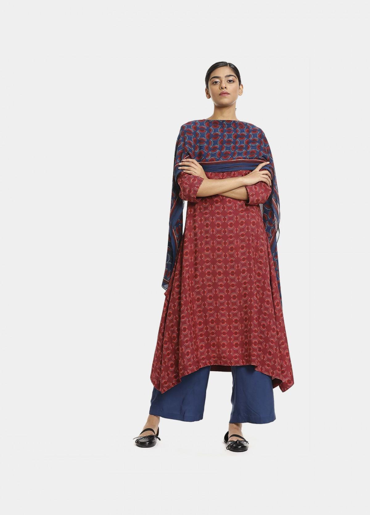 The Boond Red maroon kurta set