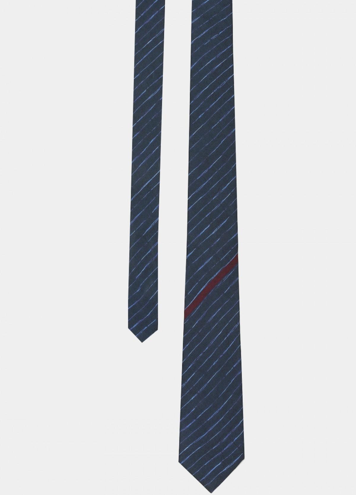 Blue Printed Silk Tie