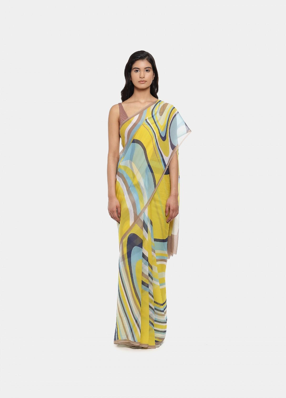 The Hesitation Yellow Sari