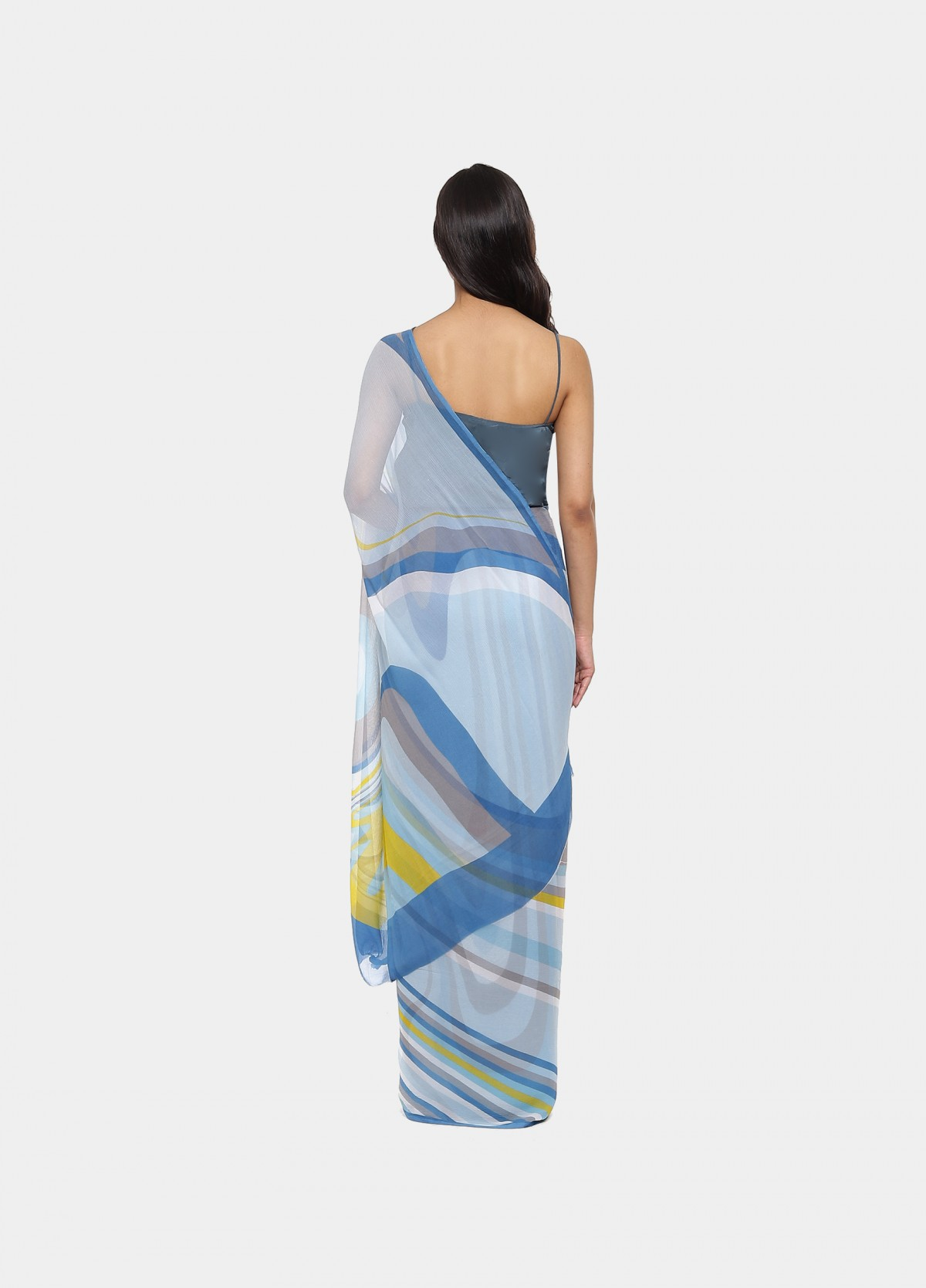 The Hesitation Blue Sari