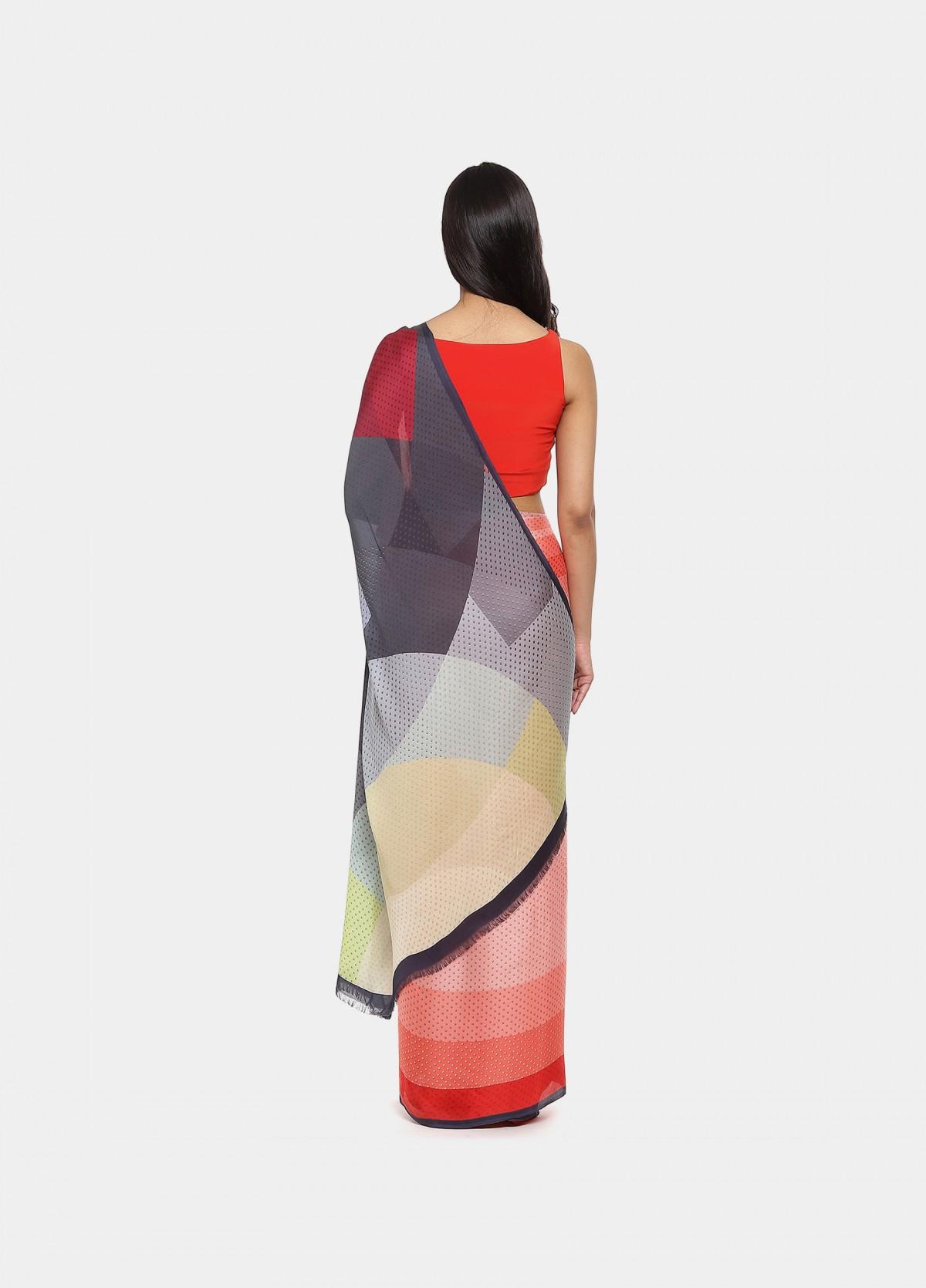 The Coral Band Sari